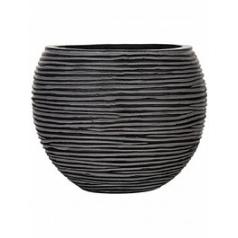 Кашпо Capi Nature vase ball rib iiiii black, чёрного цвета диаметр - 29 см высота - 25 см
