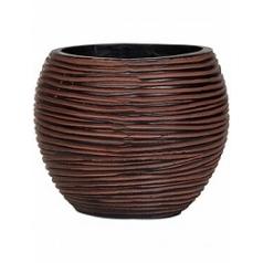 Кашпо Capi Nature vase ball rib iiiii brown, коричнево-бурого цвета диаметр - 29 см высота - 25 см