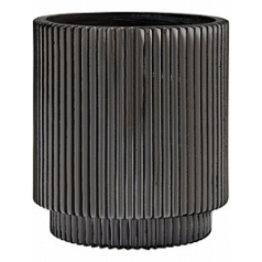 Кашпо Capi Nature vase cylinder groove 1-й размер black, чёрного цвета диаметр - 8 см высота - 8.5 см
