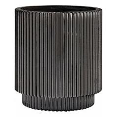Кашпо Capi Nature vase cylinder groove 2-й размер black, чёрного цвета диаметр - 11 см высота - 12 см