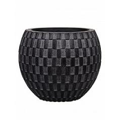 Кашпо Capi Nature vase eggplanter 3-й размер wave black, чёрного цвета диаметр - 17 см высота - 14 см