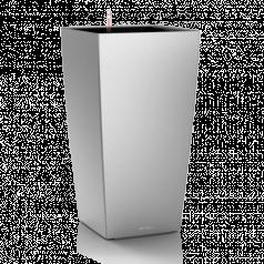 Кашпо Lechuza Cubico, серебристый металлик