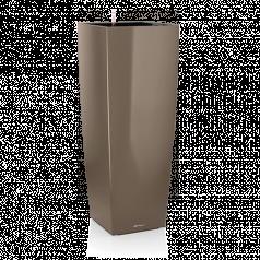 Кашпо Lechuza Cubico Alto, серо-коричневый блестящий