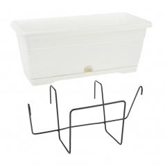 Балконный ящик с крепл., Idel, VERSILIA X1, пластик, белый