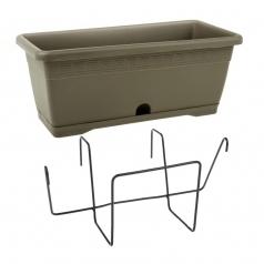 Балконный ящик с крепл., Idel, VERSILIA X1, пластик, серый