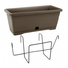 Балконный ящик с крепл., Idel, VERSILIA X1, пластик, коричневый