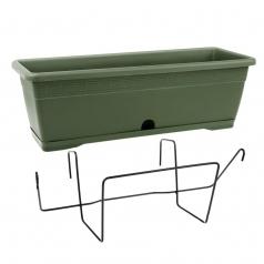 Балконный ящик с крепл., Idel, VERSILIA X1, пластик, зеленый