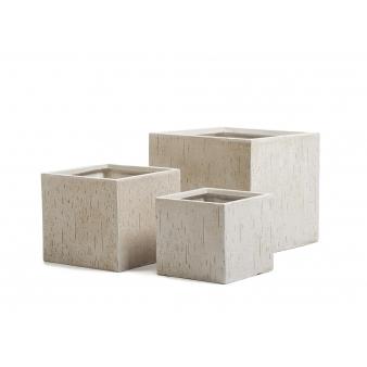 Кашпо Ergo Cork куб, белый песок