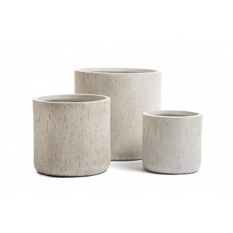 Кашпо Ergo Cork цилиндр, белый песок