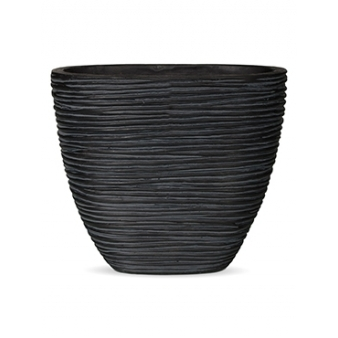 Кашпо Capi nature planter oval rib high black
