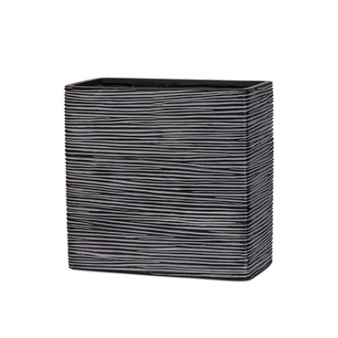 Кашпо Capi nature planter rectangle high rib black